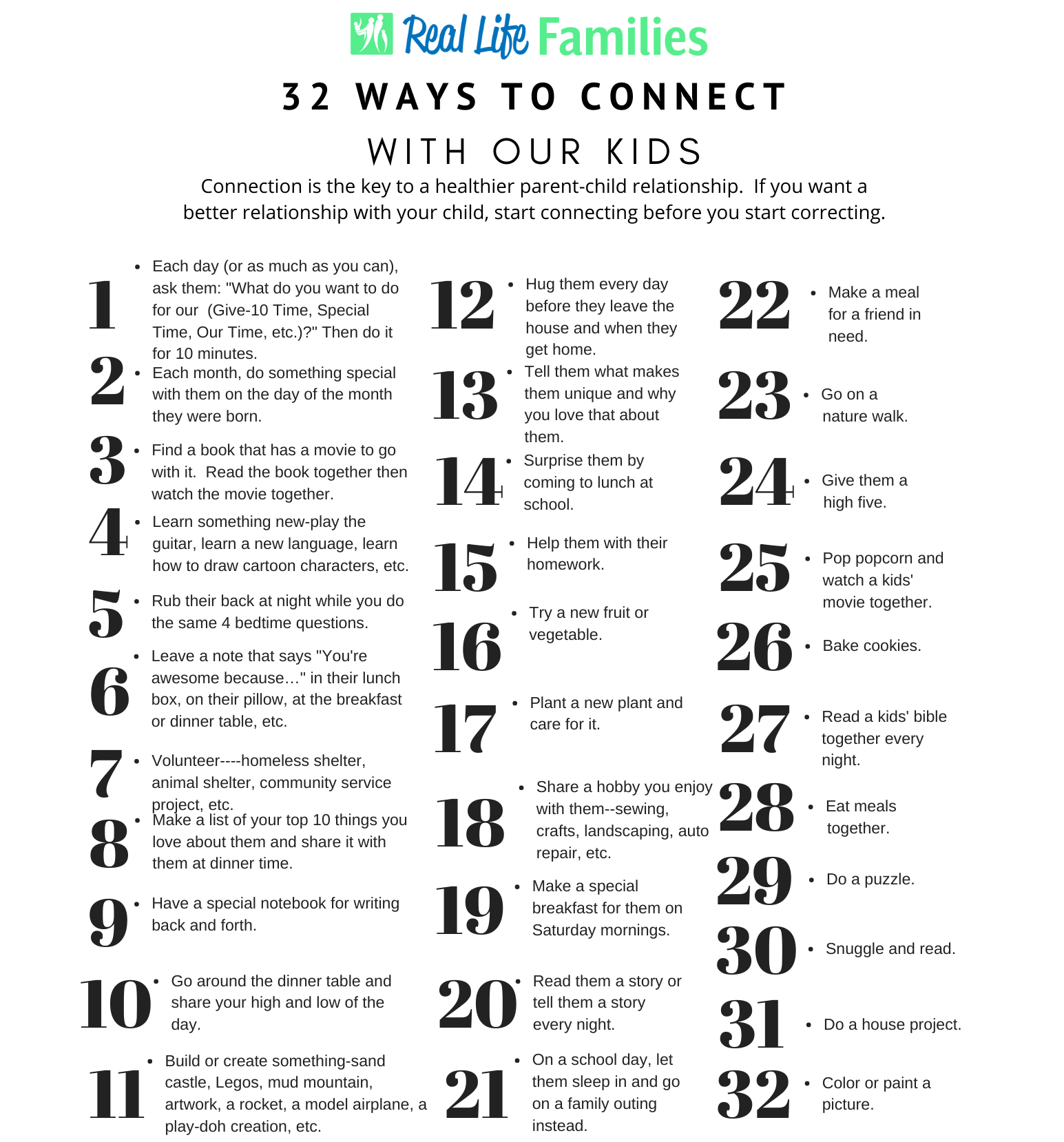 32 Ways to Connect with Our Kids 2020 UPDATED
